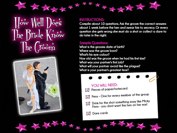 Groom Questions For Hens Night