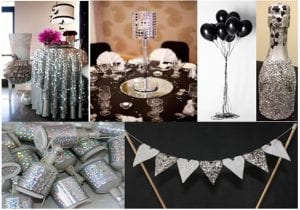 It Is Easy To Further Incorporate The Black And Bling Theme Into Decor Simply Add A Tablecloth Runner Few Balloons Key Pieces