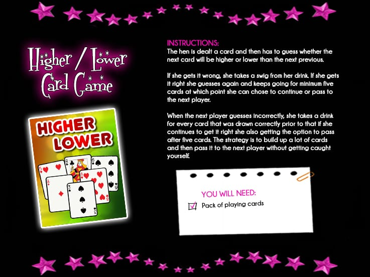 Higherlower cards hen party games solutioingenieria Image collections